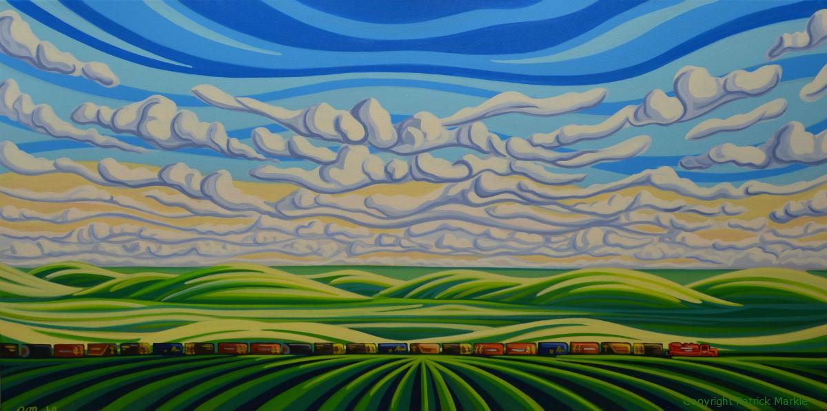 Saskatchewan, Prairies, Landscape, Train, CP Rail