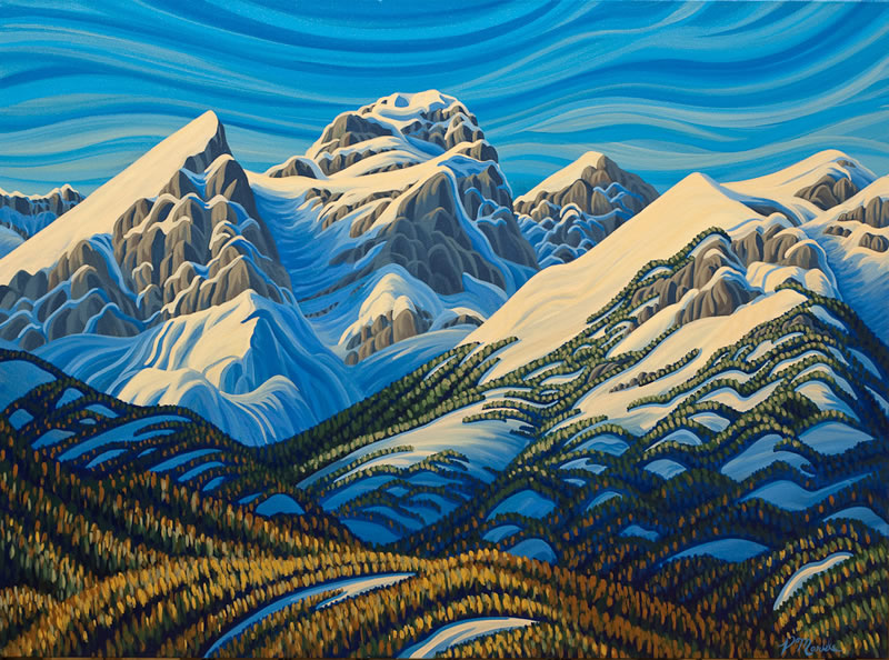 "Original Painting by Patrick Markle - ""Autumn Sisters"" (Fernie, BC)"