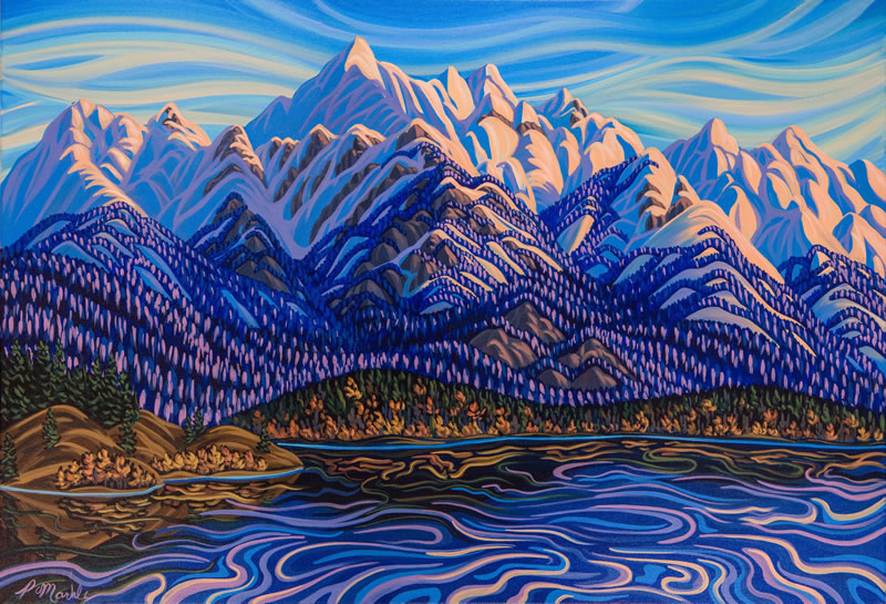 "Original Painting by Patrick Markle - ""Lake Windermere"" (Columbia Valley, BC)"