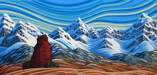 "Original Painting by Patrick Markle - ""Pincher Creek"" (Canadian Rockies Foothills, Alberta, Canada)"