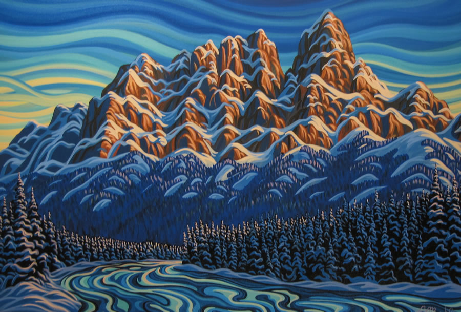 "Original Painting by Patrick Markle - ""Castle Mountain"" (Banff National Park)"
