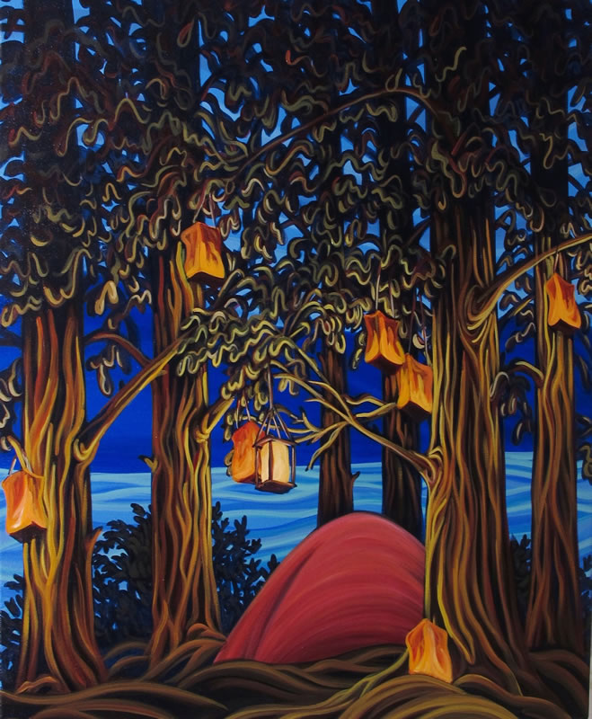 "Original Painting by Patrick Markle - ""Cedar Campsite XI"""