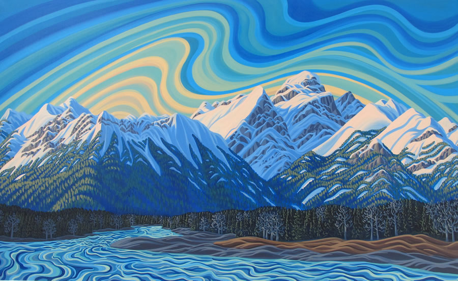 "Original Painting by Patrick Markle - ""Elk River"" (Fernie, BC)"