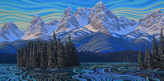 "Original Painting by Patrick Markle - ""Island Lake"" (Fernie, BC)"