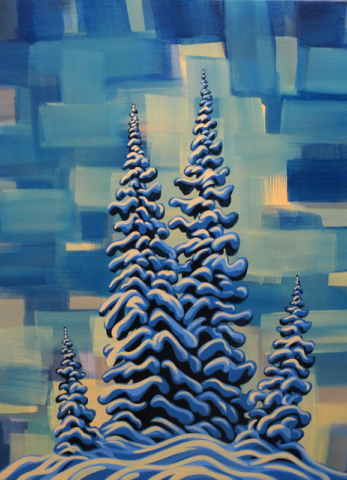 "Original Painting by Patrick Markle - ""Morning Trees II"""