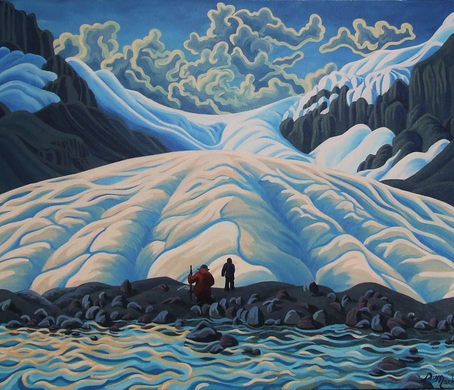"Original Painting by Patrick Markle - ""Photo Op, Athabasca Glacier"" (Jasper National Park)"