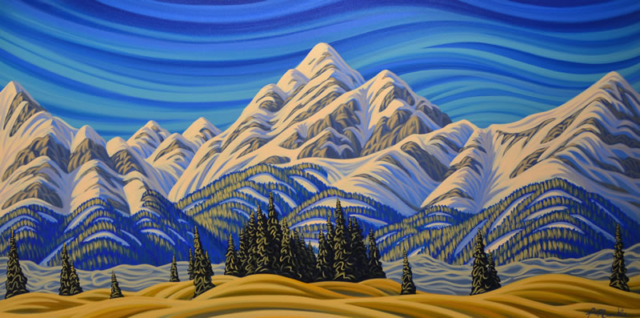 "Original Painting by Patrick Markle - ""Rockies Approach"" (Canadian Rockies Foothills, Southern Alberta, Canada)"