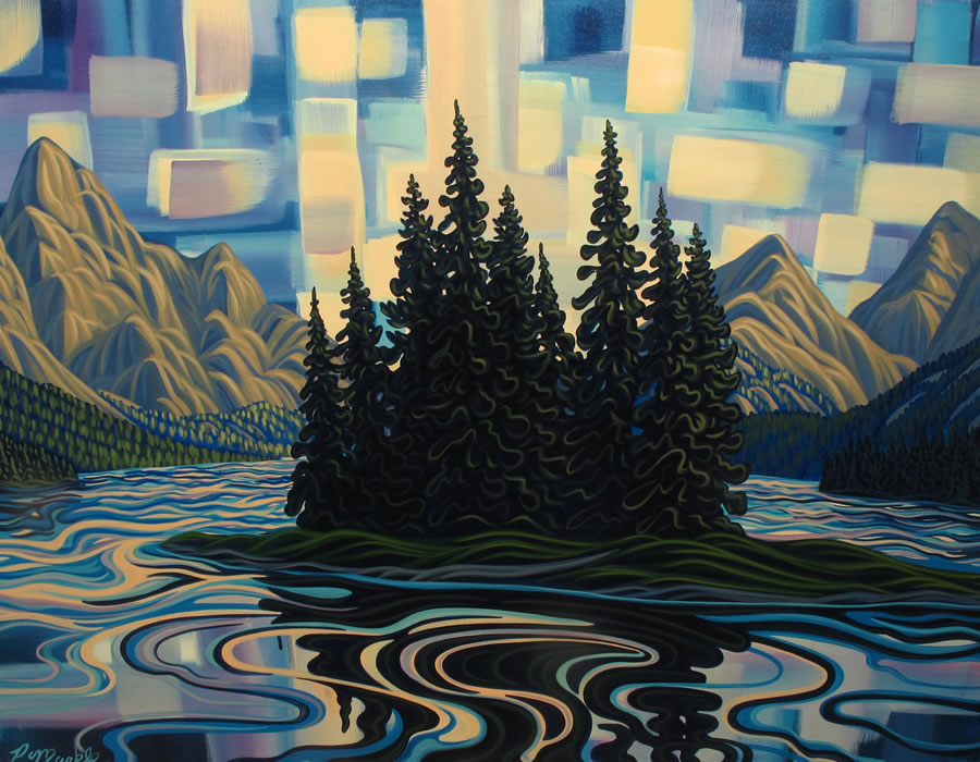 "Original Painting by Patrick Markle - ""Spirit Island Abstract II"" (Jasper National Park)"