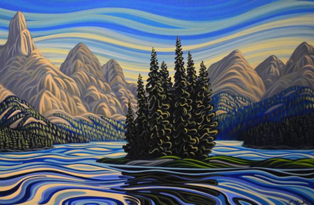 "Original Painting by Patrick Markle - ""Spirit Island"" (Jasper National Park)"