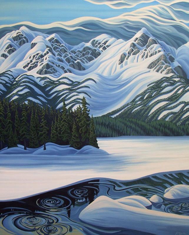 "Original Painting by Patrick Markle - ""Spring Thaw Island Lake"" (Fernie, BC, Canada)"