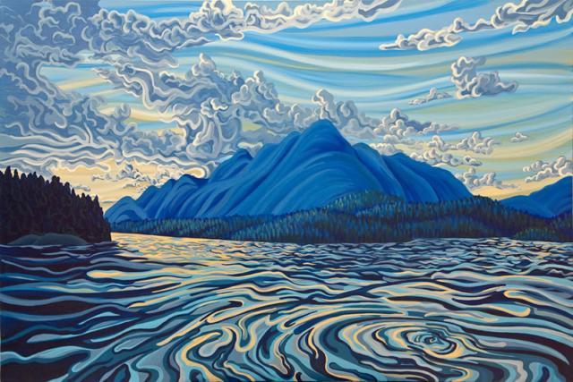 "Original Painting by Patrick Markle - ""Sunset, Lake Koocanusa"""