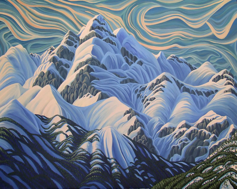 "Original Painting by Patrick Markle - ""Swirling Current"" (Canadian Rockies, BC, Canada)"