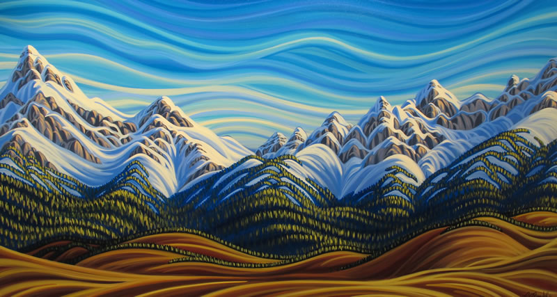 "Original Painting by Patrick Markle - ""Rockies Meet Foothills"", Southern Alberta, Canada"