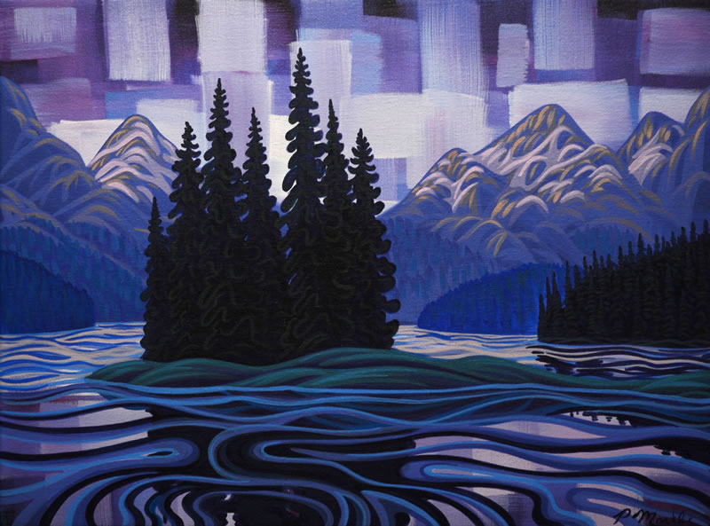 "Original Painting by Patrick Markle - ""Spirit Island"" (on Maligne Lake, Jasper National Park, Alberta, Canada)"